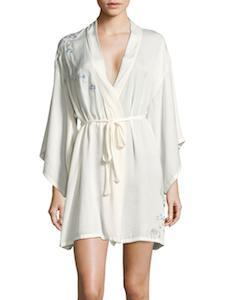 Bridal Party Robes Josie Natori Floral Embroidered Robe with Eye Mask photo