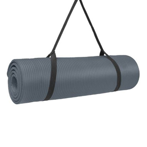 Gray exercise mat with black straps for carrying photo