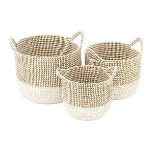 Natural colored basket set with three different sizes. photo
