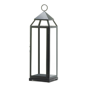 Matte-black lantern with a hook at the top. photo