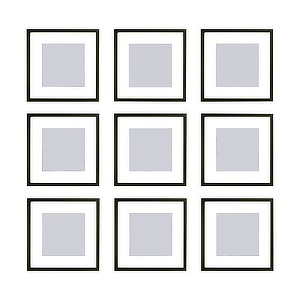 9 picture frames with white matting and black trim. photo
