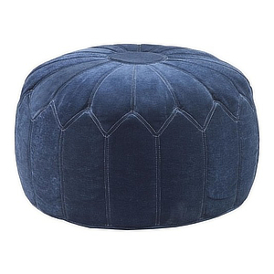 Blue rounded pouf with a contemporary design. photo