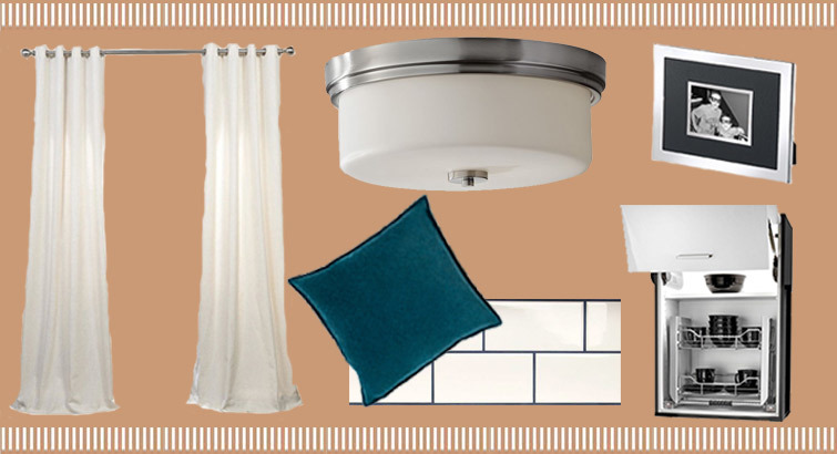 Home decor accents like drapes, throw pillows, picture frames, and ceiling lights. photo