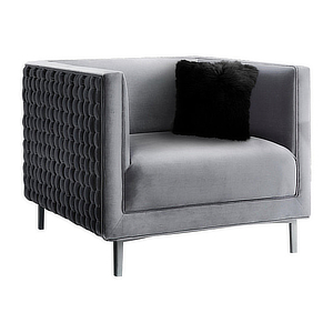 Silver tufted accent chair. photo