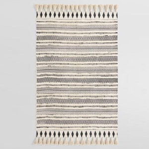 Ivory and black shag area rug with an Aztec print photo