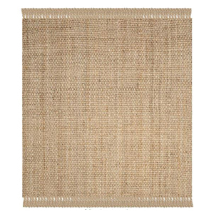 Beige jute rug with fringe detailing on the ends photo