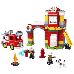 red and yellow LEGO Duplo Town Fire Station from Amazon photo