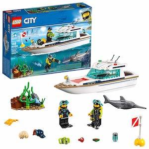 colorful LEGO City Great Vehicles Diving Yacht Building Kit from Amazon photo