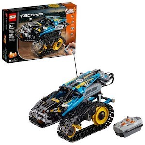 blue and yellow LEGO Technic Remote-Controlled Stunt Racer Building Kit from Amazon photo