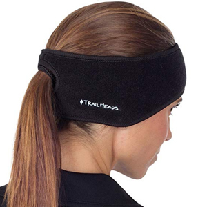 Black fleece running headband with a hole for your ponytail photo