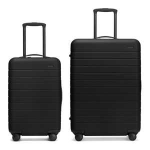 One small and one large Away suitcase in black photo