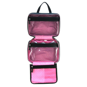Black toiletry bag with a pink interior photo