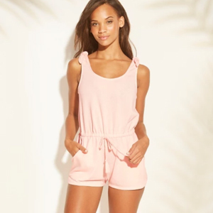 Blush pink romper cover-up with tie shoulders photo