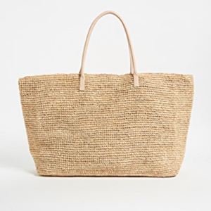 Large straw tote bag with multiple compartments inside photo