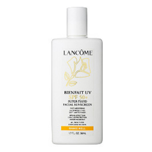 A bottle of Lancome sunscreen with SPF 50+ photo