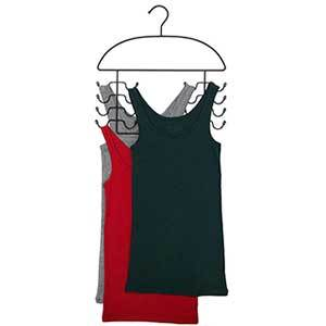 Black metal hanger with hooks to hold eight tank tops photo