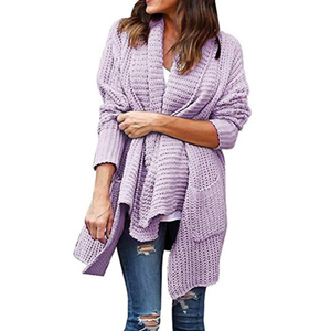 Purple chunky-knit cardigan with pockets photo