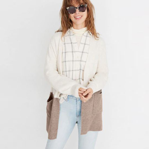 Ivory and beige color block cardigan with two pockets photo