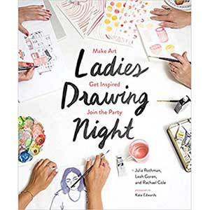 Ladies Drawing Night book cover with women's hands drawing and painting from Amazon photo