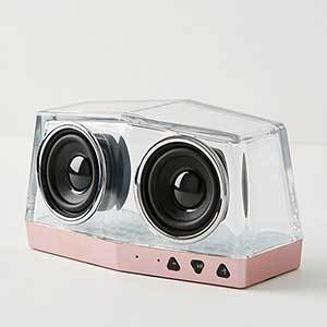 Clear crystal speaker with rose gold along the bottom from Anthropologie photo