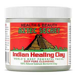 White container of Aztec Secret Indian Healing Clay with red, green, and white label photo