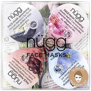 Four various Nugg face mask pods in square box photo
