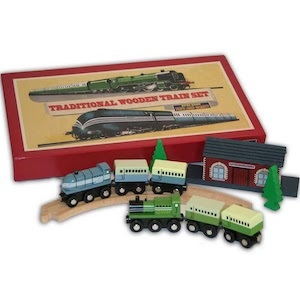 Best Train Sets for Kids Perisphere and Trylon Games Traditional Wooden Train Set photo