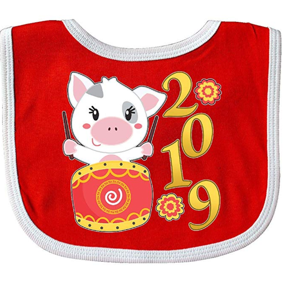 Pig-Themed Baby and Toddler Gifts Inktastic 2019 Year of the Pig Cute Drum Baby Bib photo