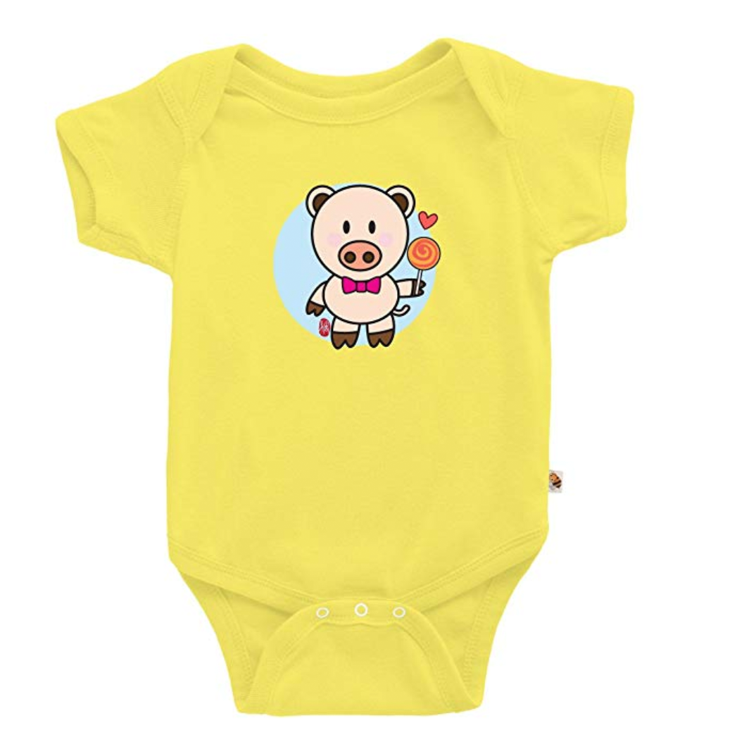 Pig-Themed Baby and Toddler Gifts TeezBee Baby Year of The Pig Cute Chinese Zodiac Onesie photo