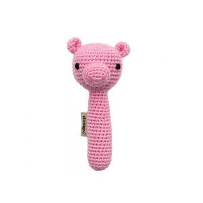Pig-Themed Baby and Toddler Gifts Cheengoo Organic Crocheted Pig Rattle photo