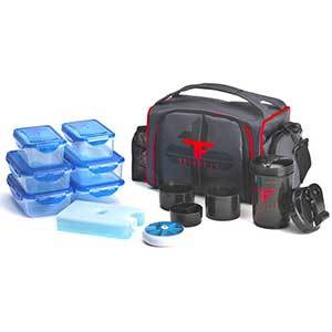 Black ThinkFit lunch box with red detailing alongside a shaker bottle, six food containers, and ice pack. photo