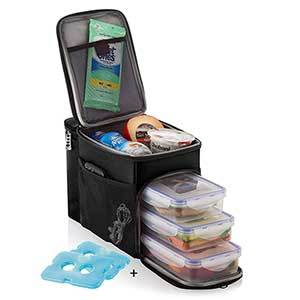 Tall black lunch box with three food containers inside and two ice packs alongside. photo