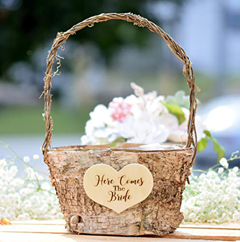 Flower Girl Baskets Spring Country Barn Babe Here Comes the Bride Birch Flower Girl Basket with Twig Handle Amazon photo