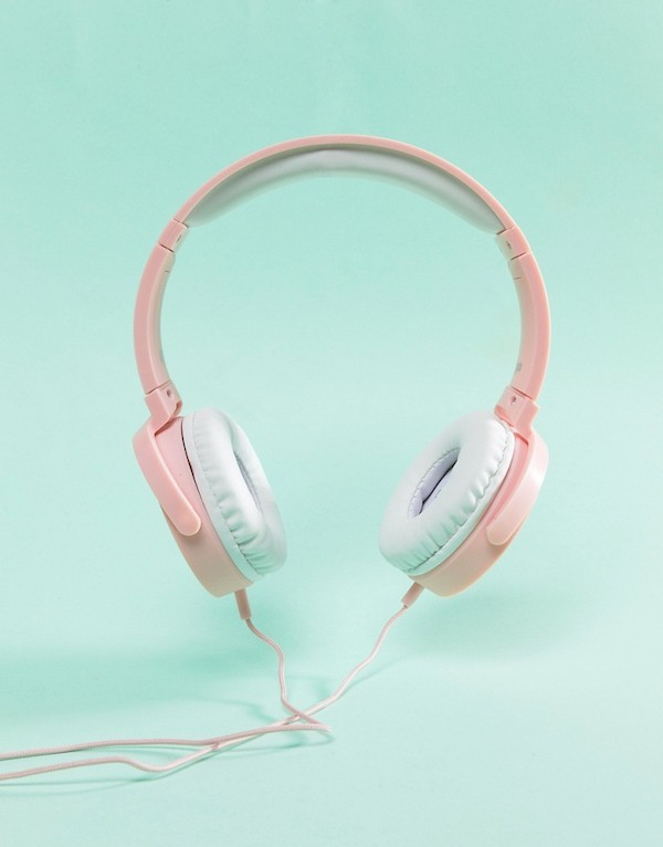 Typo Rose Gold Frequency Pink Headphones ASOS photo