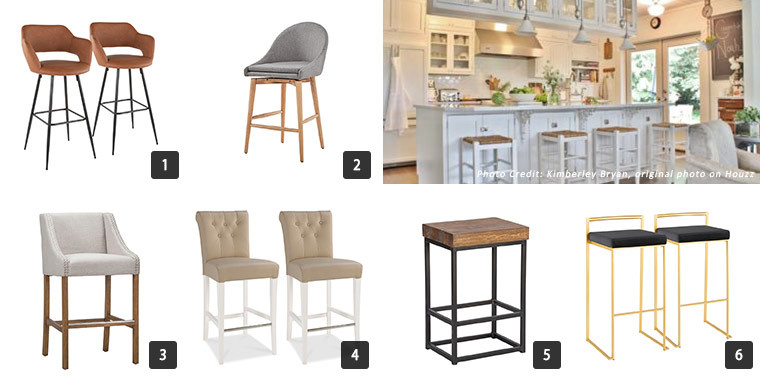 Six different styles of bar stools for a kitchen island. photo