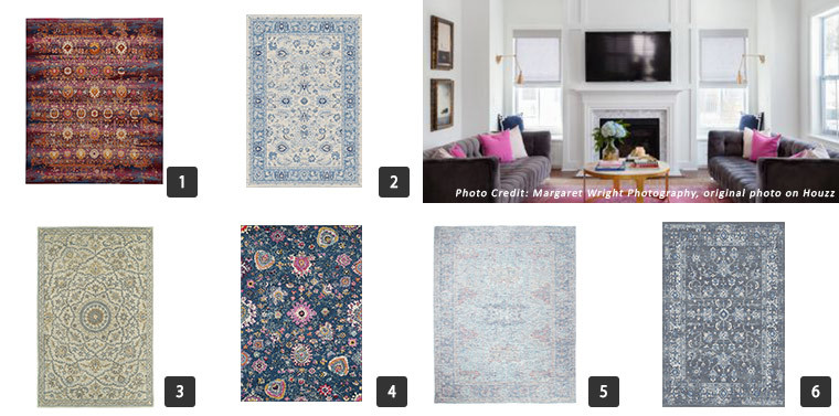 Traditional area rugs with vibrant, neutral, and moody colors. photo