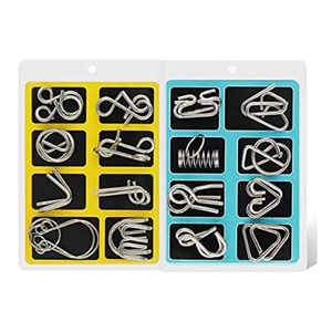 Set of 16 metal puzzles in blue and yellow with a travel bag from Amazon photo
