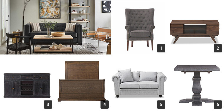 A variety of furniture including a sofa, bed, coffee table, accent chair, and a sideboard. photo