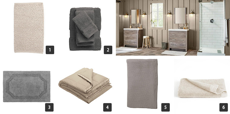 An assortment of towels for your bathroom and bedding for your bedroom. photo