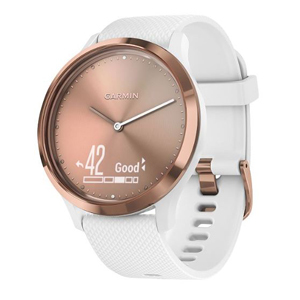 White and rose gold Garmin activity tracker from Macy's photo