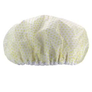 Shower cap with yellow hearts on it from Nordstrom photo