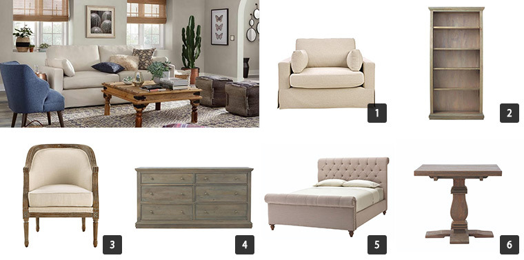 A cream sofa chair, wooden bookcase, upholstered bed, dining chair, dresser, and a small accent table. photo