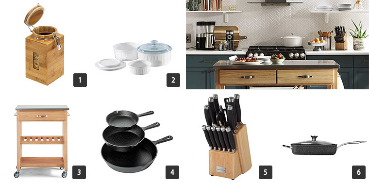 Three skillets, kitchen knives, car cart, casserole dishes, canisters, and cookware. photo