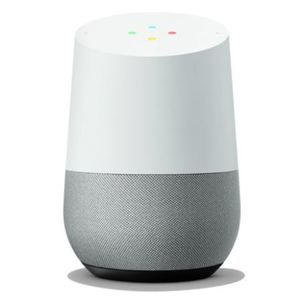 White Google Home with a black speaker from Walmart photo