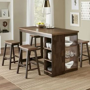 Wooden dining table with storage space on the side filled with dishes and glasses photo