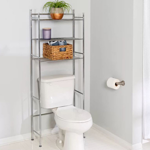 A metal storage unit with three shelves for above the toilet in a light gray bathroom photo