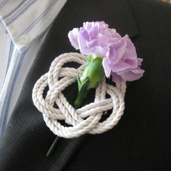 beach wedding decorations Nautical Sailor Knot Rope Boutonniere Corsage photo