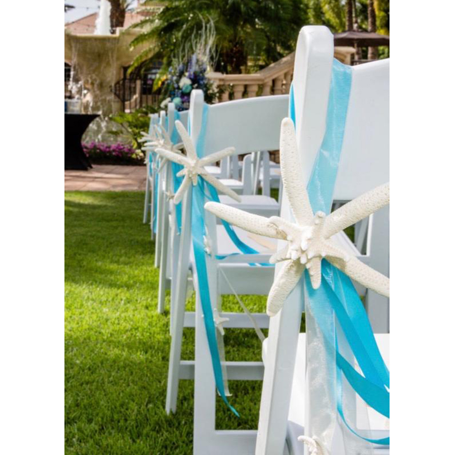 beach wedding decorations Starfish Chair Decoration with Natural Starfish and Ribbons photo