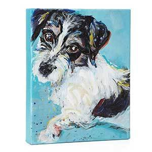 Abstract painting of a black-and-white dog in front of a light blue background photo