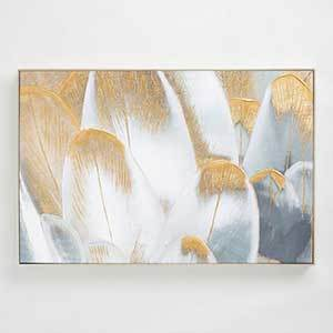 White, gray, and gold canvas print of close-up bird's feathers photo